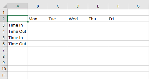 how to create a time sheet in excel